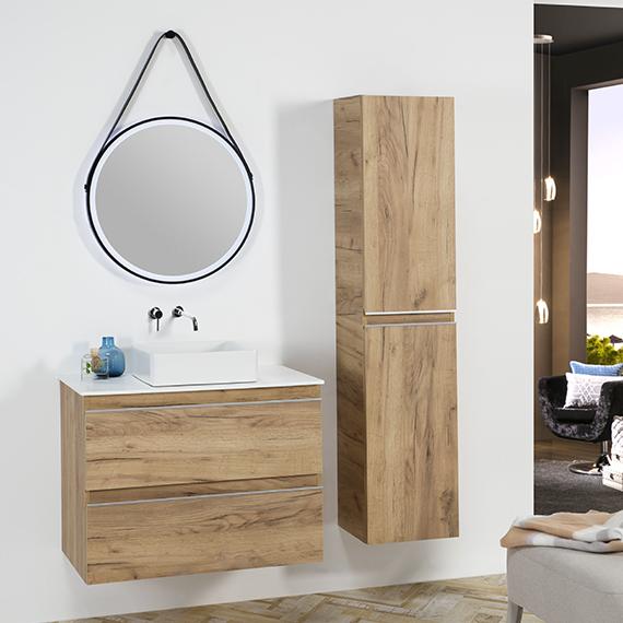City - 80 Roble Rustico espejo cuero lavabo cuadrado
