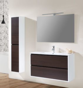 bathroom set with backlit mirror