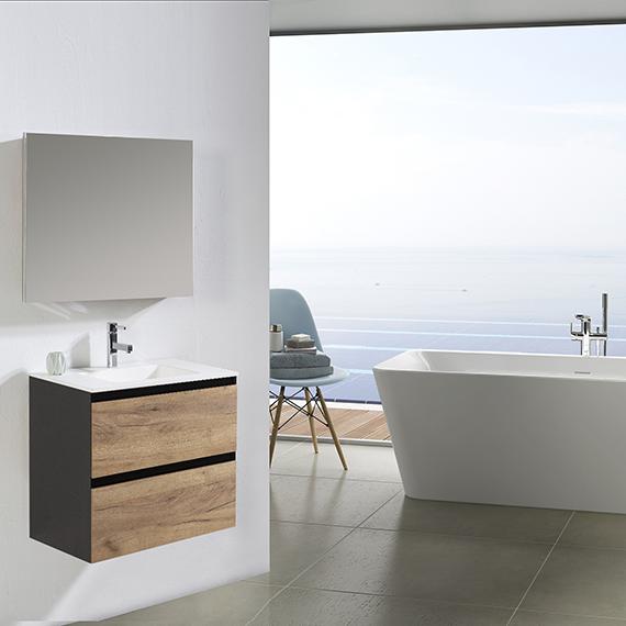 Lara - 60 Roble rústico espejo 60x80 lavabo cerámica